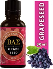 BAE Grape Seed Oil - Cold Pressed, Pure and Natural Carrier Oil for Aromatherapy, Massage, Moisturizing Skin & Hair (30ml)