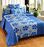 Super India 110 TC Cotton Double Bedsheet with 2 Pillow Covers - Floral, Blue