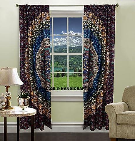 Bleu Mandala drapé Panel Sheer intercalaire Chambre à coucher Rideaux Tapisserie Drapes fenêtre Traitement Bohème Lot par