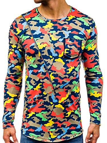 BOLF Herren Langarmshirt mit Rundhalsausschnitt perfekte Passform Aufdrück Army Camo Motiv Athletic 1090 Beige S [1A1] |