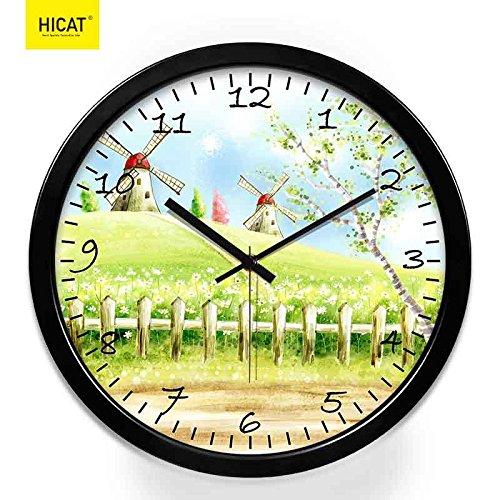 Qwer ultra-quiet garden-wall orologio hotel soggiorno arredamento orologio al quarzo orologio personalizzato, 12 pollici ,h120 black-black metal box