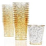 300 Vasos de Chupito Desechables de Plástico Duro con Elegante Brillo Dorado, 1oz(30ml) -...