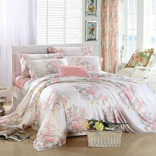 stile coreano Tencel fiore modello Set di biancheria da letto Mescolanza/miscele/filato misto(1Copripiumini 1Lenzuola 2Federe)-A (Filato Satin Stampe)