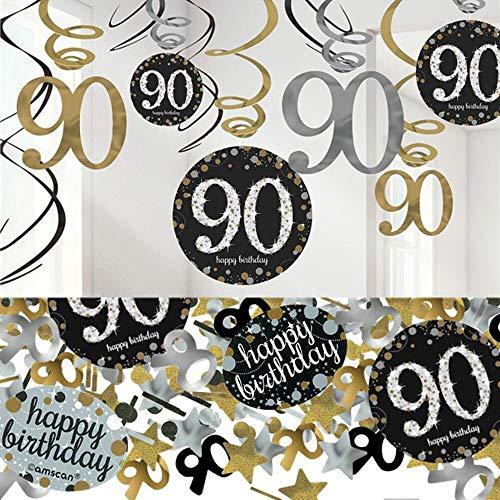 tagsdeko 90. Geburtstag | 13 Teile Deko-Set Spiral Girlande Deckenhänger Wirbel Konfetti Gold Schwarz Silber metallic Party Deko Happy Birthday 90 ()
