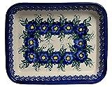 Traditionelle Polnische Keramik, handgefertigte Bräter und Backformen, Lasagne Kasserolle Auflaufform mit Muster im Bunzlauer Stil, L25.5cm (1000 ml), O.101.PANSY