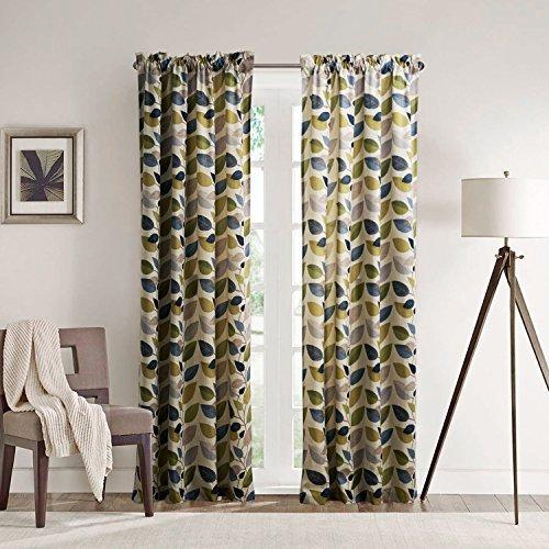 25Größen erhältlich modernes Print minimalistisches Multi Farbe Blätter Unterstoff Fenster Behandlung Vorhänge und Vorhänge Panels, Textil, Rod Pocket Top, 1*(42