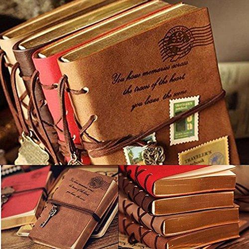 (segrj 14x 2cm Retro Classic Vintage Kunstleder Notebook für Diary, Reisen Tagebuch, Note mit Bound blanko Seiten und Retro Schlüssel Anhänger String–zufällige Farbe 1 1)