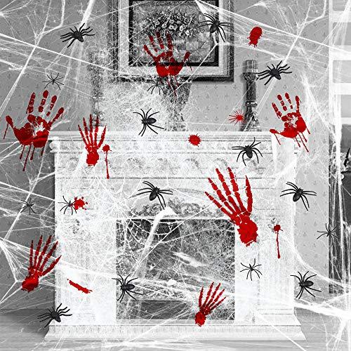 Lictin Halloween Spinnennetz Deko Spinngewebe Spinne Blutige Hand Fuß Fensteraufkleber Halloween Horrible Karneval Party Dekorations Halloweendeko Set