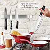 Homemaxs 16 Inch Magnetic Knife Holder, Stainless Steel Magnetic Knife Rack for Steak/Chef/Carving Knives Kitchen and Bar