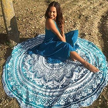 Zonfer Plage ronde Couverture serviette Boho ronde tapisserie de plage en coton Roundie Cercle de pique-nique tapis de yoga Tapis
