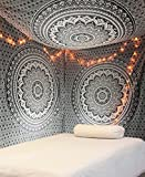 Schwarz und Weiß Indisch Wandteppich Mandala Ombre Queen 210x220 cms