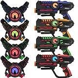 Darpèje Game 4 Joueurs-Infrarouge sans Fil-Compatible Piles Rechargeables-4 Pistolets Laser + 4 Plastrons-Intérieur/Extérieur - 60 Mètres de Portée-ODAR79, ODAR79, Rouge, Bleu, Vert, Orange