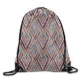 KAKICSA Unisex Gym Bag Native American Retro Diagonal Ethno Pattern with Geometric Shapes Drawstring Gym Sack Sport Bag for Men and Women