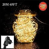 200 lumières de guirlande de 20M LED,Tersely lumières de guirlande d'intérieurs / extérieurs lacrymogènes pour l'arbre de noël Évènements de mariage de jardin (8 modes d'éclairage, fonction de mémoire) ( Plug UE)