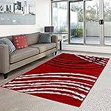 carpet city % Sale Teppich Modern Designer Moda Wohnzimmer Bogen Muster Rot Schwarz Creme Größe 120/160 cm