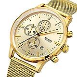 Yisuya Megir Herren-Armbanduhr, mit mehreren Stoppuhr-Funktionen, aus Edelstahl, Quarzuhrwerk, Goldfarbe