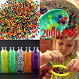 #7: Voberry Water Beads, Beads Water Beads Rainbow Mix, for Orbeez Spa Refill, Sensory Toys and DãCor (Pack of 2000) 9mm-11mm(aftering Soaking in Water) Multicolor