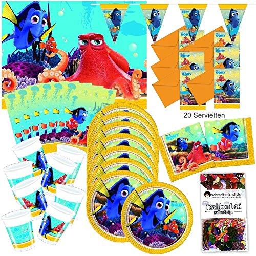 (Folat Finding Dory Partybox original Kindergeburtstag 51-teilig Deko Pixar Nemo Partypaket)