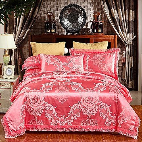 RENYAYA Jacquard Luxury Wedding 4pcs Bedding Set Bed Linen Silk Cotton Duvet Cover Lace Bed Sheet Set Pillowcases (König Cotton Bed Sheet Sets)