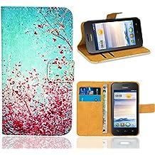 Huawei Ascend Y330 Funda, FoneExpert Wallet Flip Billetera Carcasa Caso Cover Case Funda de Cuero Para Huawei Ascend Y330