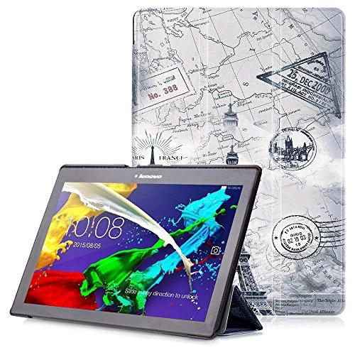 "Lenovo Tab 2 A10 / Tab3 10 Plus / Tab3 10 Business Hülle - Schutzhülle mit Auto Aufwachen / Schlaf Funktion für Lenovo Tab 2 A10-30 / A10-70 / Tab3 10 Plus / Tab3 10 Business 10.1"" Tablet, Karte Turm"