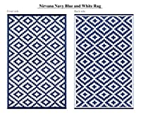 Green Decore Lightweight Indoor/ Outdoor Reversible Plastic Rug Nirvana Navy Blue \ White - 4x6 ft (120 x 180 cm), Powder Blue/White by Green Decore