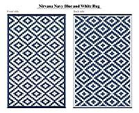 Green Decore Lightweight Indoor/ Outdoor Reversible Plastic Rug Nirvana Navy Blue \ White - 4x6 ft (120 x 180 cm), Powder Blue/White by Green Decore