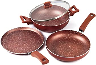 Home Sapphire Kadhai, Dosa Tawa, Fry Pan with Common Glass Lid Cover | Combo of Non Stick Induction Base Cookware Set