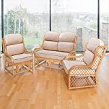 Alfresia Cadiz Cane and Diamond Lattice Conservatory Furniture Set with 2 Seater Sofa and 2 Chairs Including Luxury Cushions (Jakarta Cream)