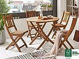 SAM® Salon de jardin Jasper, 5 pièces, en bois d'acacia, 1 x table + 4 x chaises pliantes, huilé, ensemble de meubles de balcon, certifié FSC® 100%.