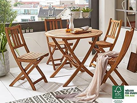 SAM® Salon de jardin Jasper, 5 pièces, en bois d'acacia, 1 x table + 4 x chaises pliantes, huilé, ensemble de meubles de balcon, certifié FSC®