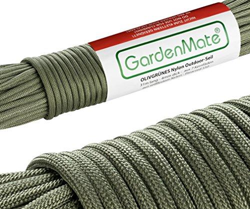 GardenMate Paracord 550 Professionelles Nylon Outdoor-Seil Oliv-Grün 31m lang 4mm dick - Kernmantel-Seil aus 7 Kernfäden aus reißfestem Nylon