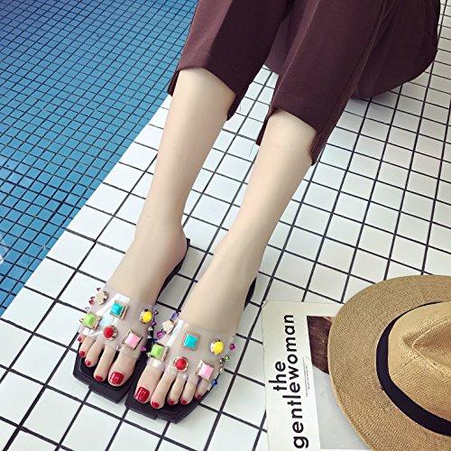 Auspicious beginning Femmes Trendy Candy Color Tongs Chaussons d'extérieur Noir