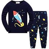 EULLA - Pijama infantil de manga larga de algodón, diseño de camión de bomberos, cohete cohete 104 cm