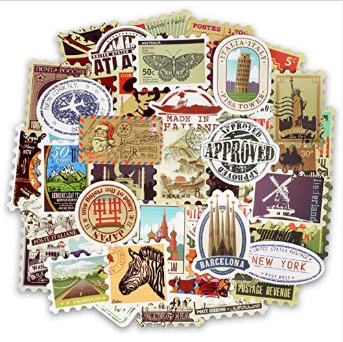 YLGG Retro Verschiedene Länder Briefmarken Mixed Vinyl Aufkleber Für Laptop Kühlschrank Gepäck Aufkleber Aufkleber Für MacBook/Hp Notebook 50 STK (Hp-laptop-abziehbild-aufkleber)