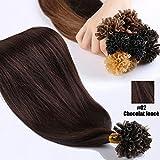 S-noilite® Extensiones de queratina de pelo natural - 55CM - 100 mechas (0.5g/mecha) - Pre bonded Nail Tip U-tip Remy Hair Extensions - #02 Marron oscuro
