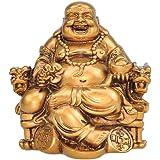 الحرف اليدوية الصينية الراتنج يضحك بوذا يجلس على كرسي التنين النحت الثروة لاكي تمثال ديكور المنزل هدية