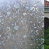 Statisch Selbsthaftend Fensterfolie 3D Tulpen Dekorfolie Sichtschutzfolie Anti-UV Fensteraufkleber Privatsphäre Schutz Fenster Folie für Heim Kueche Buero 45x200cm AOJIA