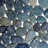 Mosaik Fliese Flußkiesel Steinkiesel Kiesel flach dunkelgrau für BODEN WAND BAD WC DUSCHE KÜCHE FLIESENSPIEGEL THEKENVERKLEIDUNG BADEWANNENVERKLEIDUNG Mosaikmatte Mosaikplatte