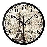 Orologio da parete di grandi dimensioni Shabby Chic stile vintage con la Torre Eiffel Clock ( Size : 14IN )