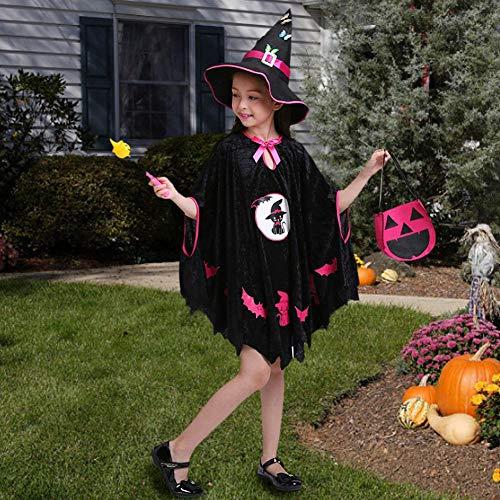 Corwar Magische Hexe Kind Batgirl Kleid, kleine Mädchen Fledermaus Kostüme, Halloween Weihnachten Cosplay Kleid für Mädchen, entzückende Schwarze Spinne Kleinkind Batgirl Kostüm - Kleinkind Mädchen Batgirl Kostüm