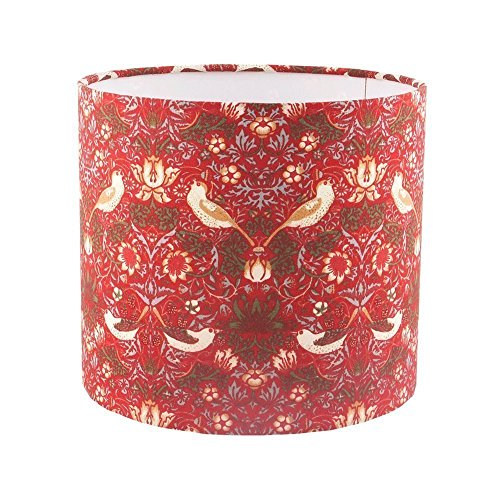handmade-drum-lampshade-in-red-william-morris-strawberry-thief-fabric