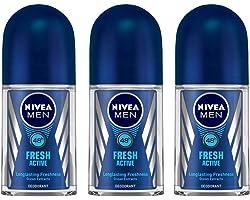 NIVEA MEN Deodorant Roll On, Fresh Active, 50ml (Pack of 3)
