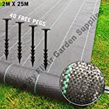 Elixirgardens® Ground Check 2m x 25m Heavy Duty Ground Control Cover Membrane Landscape Fabric + Free Pegs