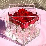 TOOGOO Nouveau mode acrylique transparent Rose Flower Box maquillage Organisateur Outils cosmetiques Porte-fleurs boite-cadeau pour femme Petite amie avec couvercle
