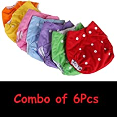 Chhote Saheb Quirk Reusable Baby Washable Cloth Diaper Nappies with Inserts Wet-Free for Babies of Ages 0 to 2 Years, Combo - 6 R.B.P (BDBTN)