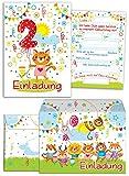 JuNa-Experten 12 Einladungskarten zum 2. Kindergeburtstag für Mädchen incl.12 Umschläge / Bunte Einladungen zum Geburtstag für Mädchen Süße Tierchen / Süße Katze (12 Karten + 12 Umschläge)