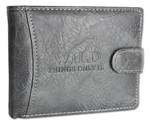Herren Geldbörse Portemonnaie Wallet Brieftasche Portmonee Trifold 2fach aufklappbar Innen und Außenriegel Querformat (1142-1) (Dunkelgrau) (Männer Grau Leder)