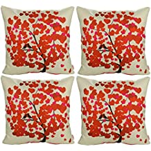 Luxbon Conjunto de 4 Fundas Cojín Almohada Lino Duradero Árbol Florecido Rojo Decorativos para Sofá Cama Coche 45x45 cm