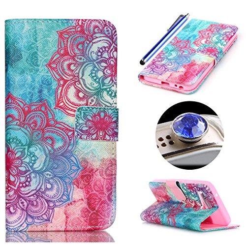 Etche Schutzhülle für LG Nexus 5X Hülle, Leder Flip Case LG Nexus 5X Tasche, LG Nexus 5X Handyhülle Muster, Bunte Retro niedlich Cartoon Malerei PU Ledertasche Case Wallet Cover Silikon Back Handy Tasche mit Standfunktion Kredit Kartenfächer für LG Nexus 5X + 1x Glitzer Staub Stecker + 1x Blau Eingabestift(Blau Rosa Blume) (5 Nexus Wallet Niedlich Case)